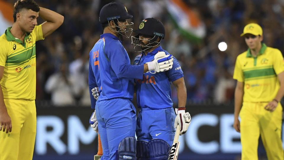 MS Dhoni and Kedar Jadhav embrace during their one day international. (AP)