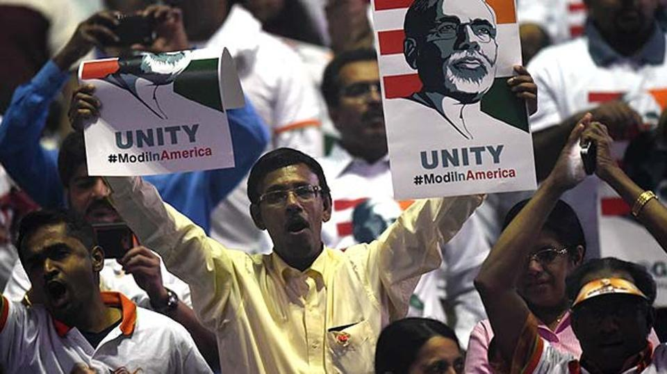 A crowd of US-based supporters await the arrival of Prime Minister Narendra Modi for a community reception at Madison Square Garden in New York, 2014.