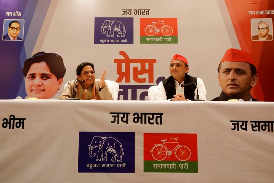 The Bahujan Samaj Party chief Mayawati  and theSamajwadi Party chief Akhilesh Yadav during a press conference to announce their alliance for the 2019 general election, Lucknow, January 12