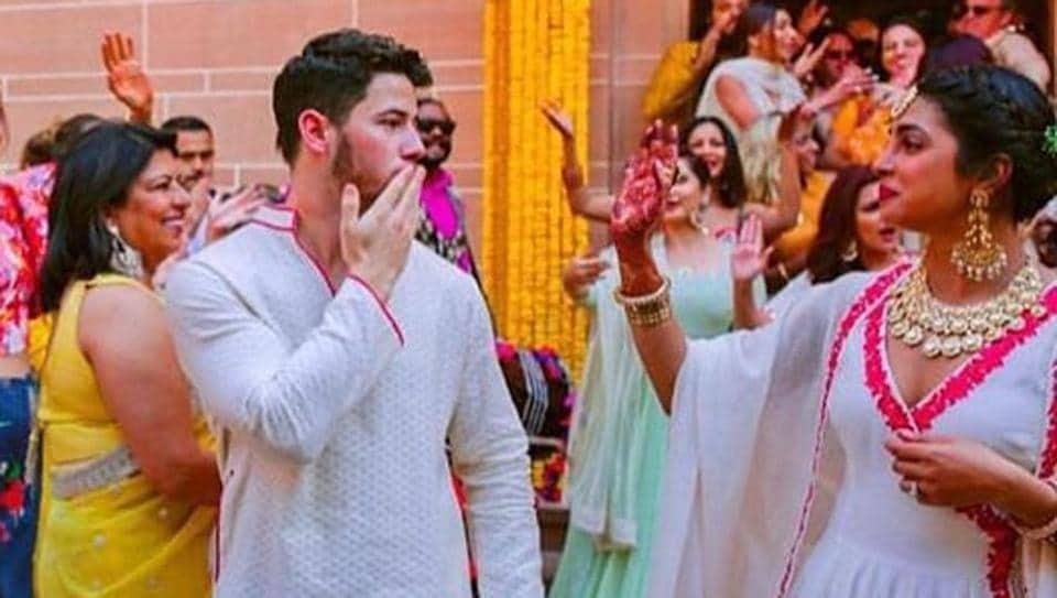 Priyanka Chopra and Nick Jonas dance together at their wedding in unseen photos.