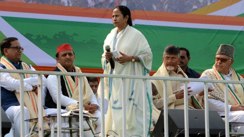 West Bengal Chief Minister Mamata Banerjee with Opposition leaders at TMC led 'United India' rally in Kolkata on Saturday.