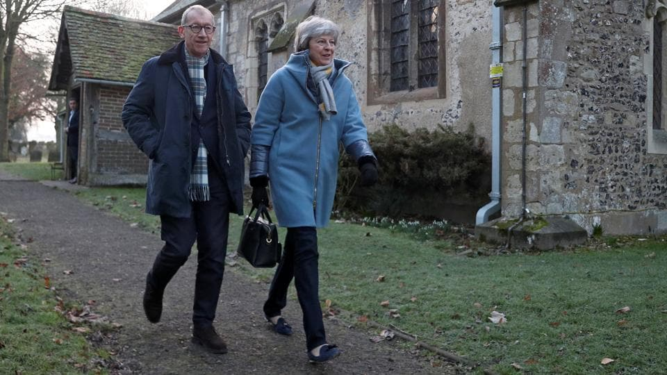 Britain's Prime Minister Theresa May and her husband Philip leave church, near High Wycombe, Britain, January 20, 2019. REUTERS/Hannah McKay
