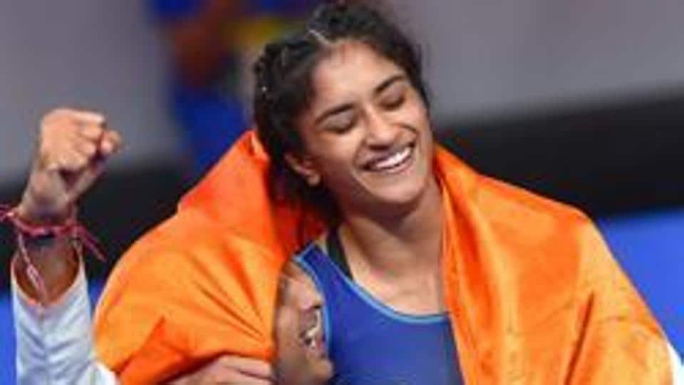 Jakarta: India's Vinesh Phogat celebrates after winning the Gold medal in women's freestyle 50 kg wrestling at the Asian Games 2018, in Jakarta on Monday, August 20, 2018.