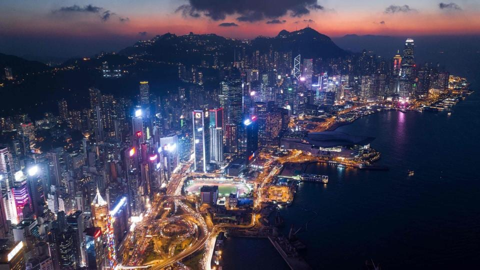 A general view of Hong Kong at night. The city's dockyards are the fifth busiest in the world -- a far cry from the 1990s heyday -- but still a cornerstone of the economy and so popular with the Instagram generation that it is now possible to tour them. (Dale de la Rey / AFP)
