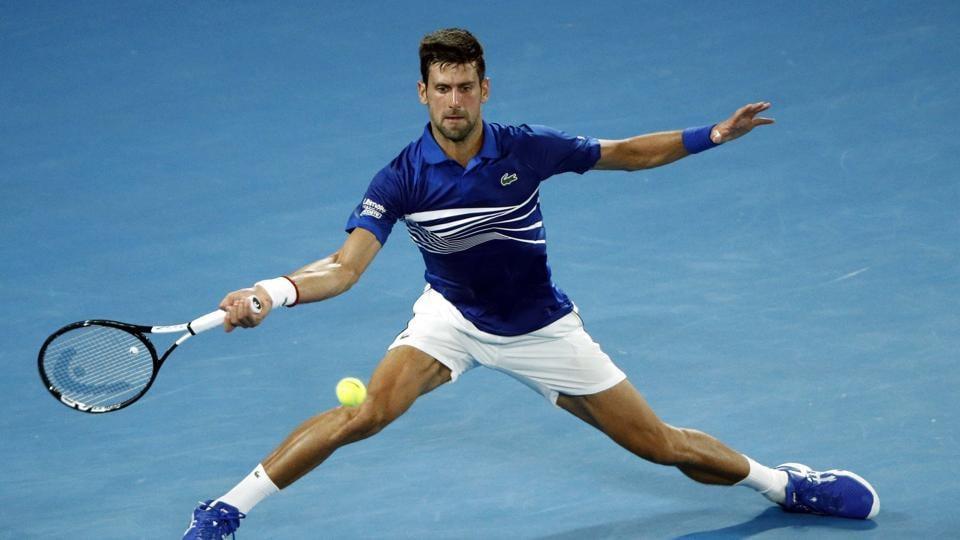 Novak Djokovic in action during the Australian Open match against Russia's Daniil Medvedev.