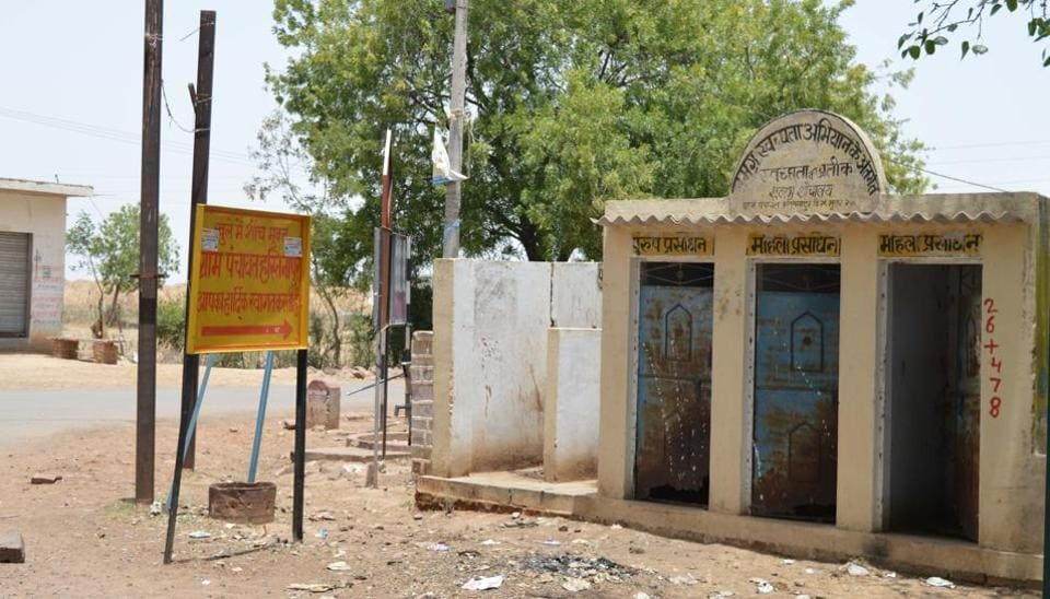 An open defecation free village near Gwalior. Sustainably reducing open defecation in rural India would reduce the number of babies who die and would improve the physical and cognitive development of surviving children .