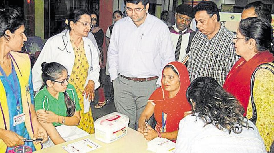 File photo of a measles-rubella vaccination programme.