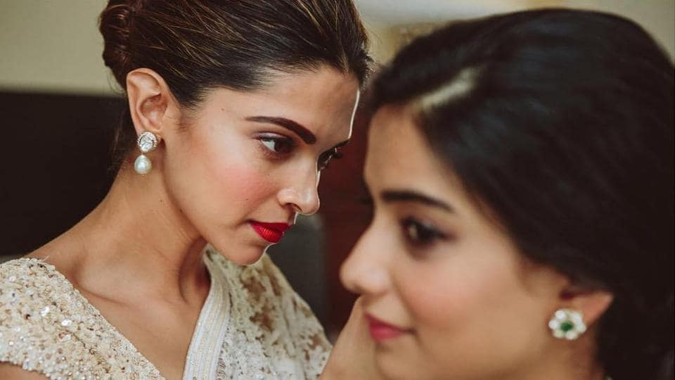 Deepika Padukone helping her friend get ready for her wedding.