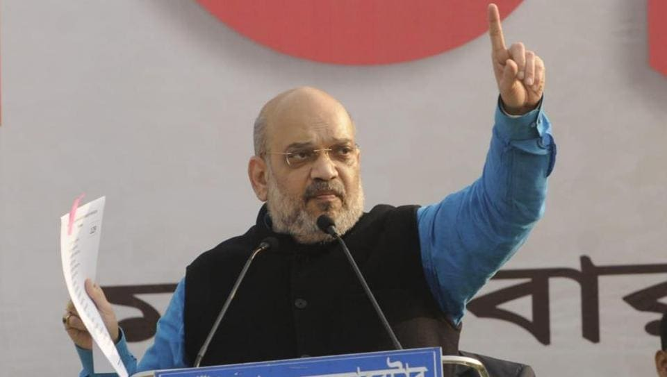BJP president Amit Shah delivers his speech in 'Save Bengal, Save Democracy' rally in Malda on Tuesday.