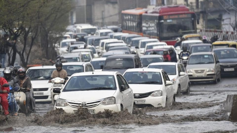 Commuters were caught up in traffic jams in several places across Delhi as heavy rains and hailstorms hit the national capital and its neighbouring areas during rush hour on Tuesday morning.