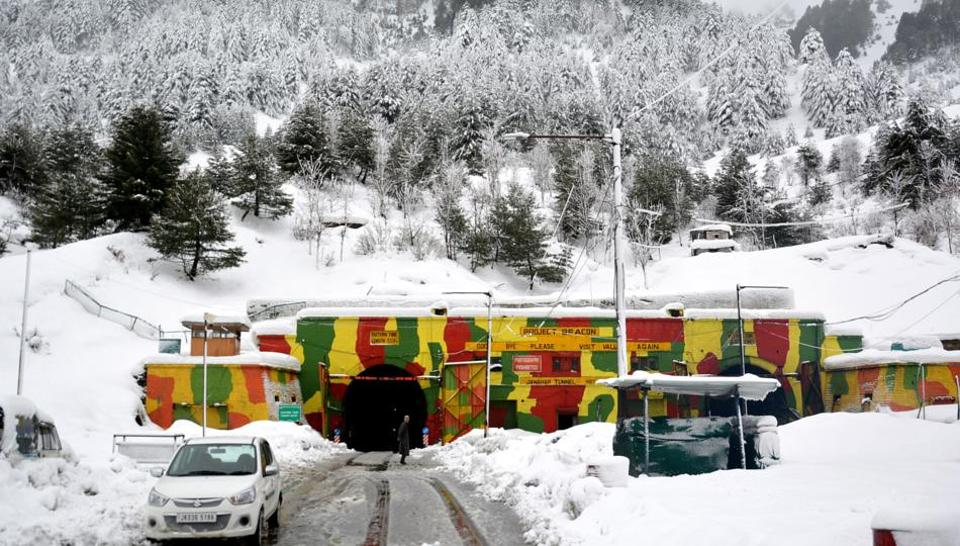 On Tuesday, the Jammu-Srinagar highway was closed following landslides and snowfall and reports of an avalanche hitting the highway in the Jawahar Tunnel area. Traffic department officials said that the landslides have hit the strategic highway at places in the Ramban district, including Digdol, Panthal, Magarkote and Khoni Nallah. (ANI)