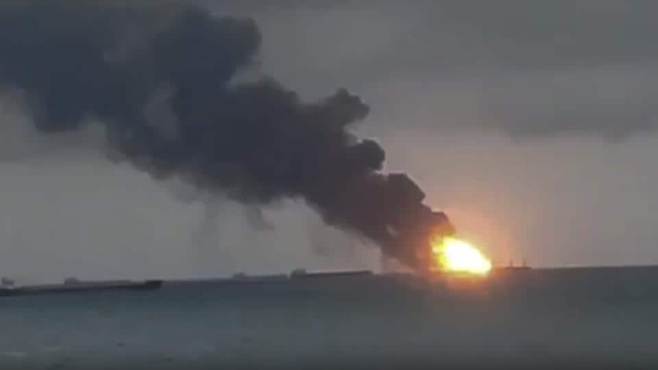 Two Tanzanian-flagged commercial vessels caught fire in the Black Sea, leaving at least 10 sailors dead, Russian officials said, and seven sailors are reported still missing.