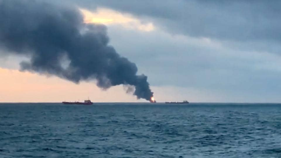 Smoke rises from a fire at a ship in the Kerch Strait near Crimea January 21, 2019 in this still image taken from Reuters TV footage.