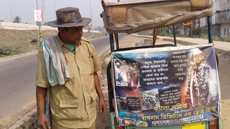 Kalo Mallick, 50, has decorated his rickshaw with Netaji's pictures and words and takes care of Bose's statues not only in his area but wherever he finds one.