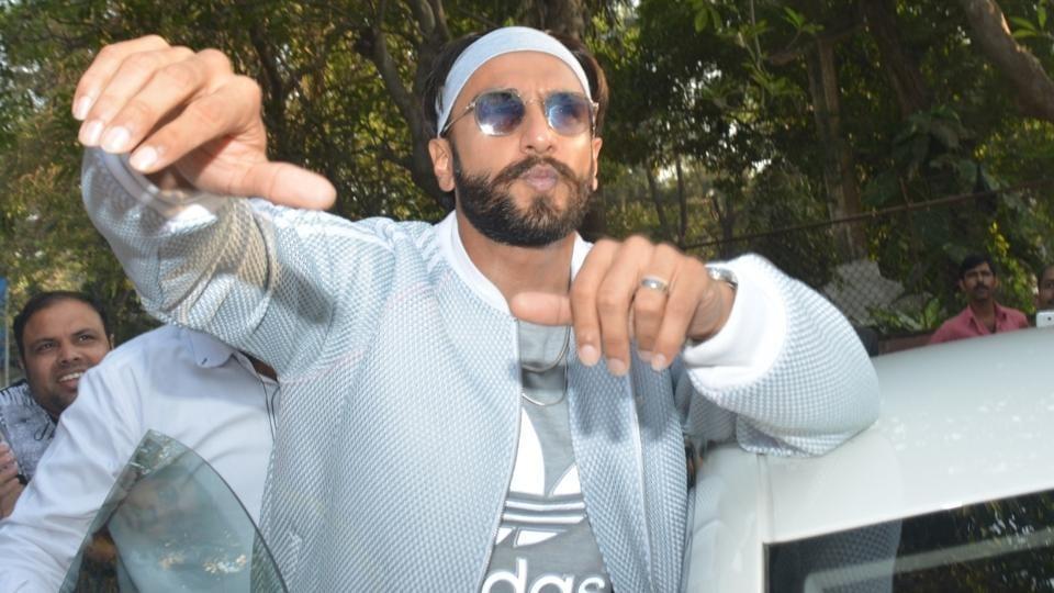Actor Ranveer Singh seen with rappers at a dubbing studio in Mumbai.