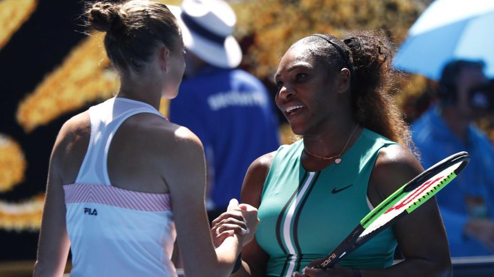 Serena topples top seed Halep as Djokovic battles into quarters