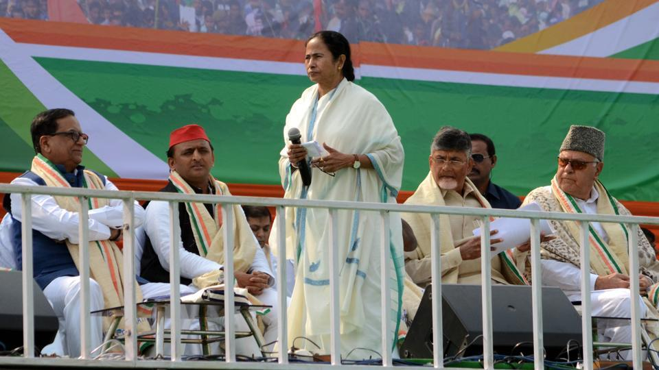 West Bengal Chief Minister Mamata Banerjee with Opposition leaders at the Trinamool Congress-led 'United India' rally, Kolkata, January 19, 2019.