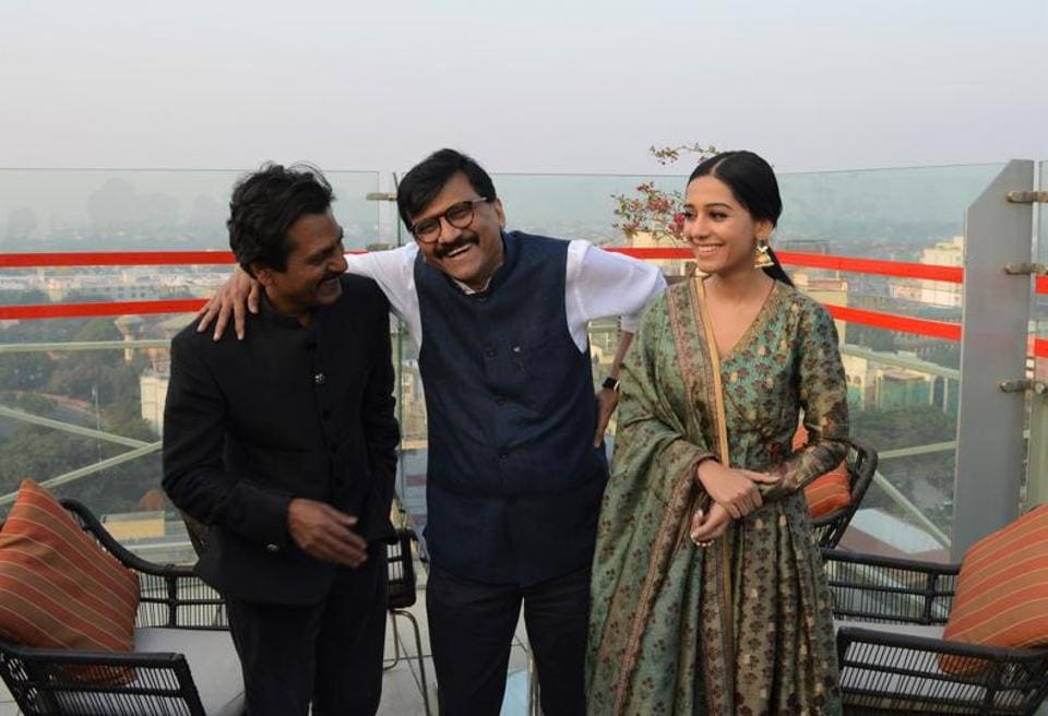 Actor Nawazuddin Siddiqui, Writer Sanjay Raut and Amrita Rao in Lucknow.