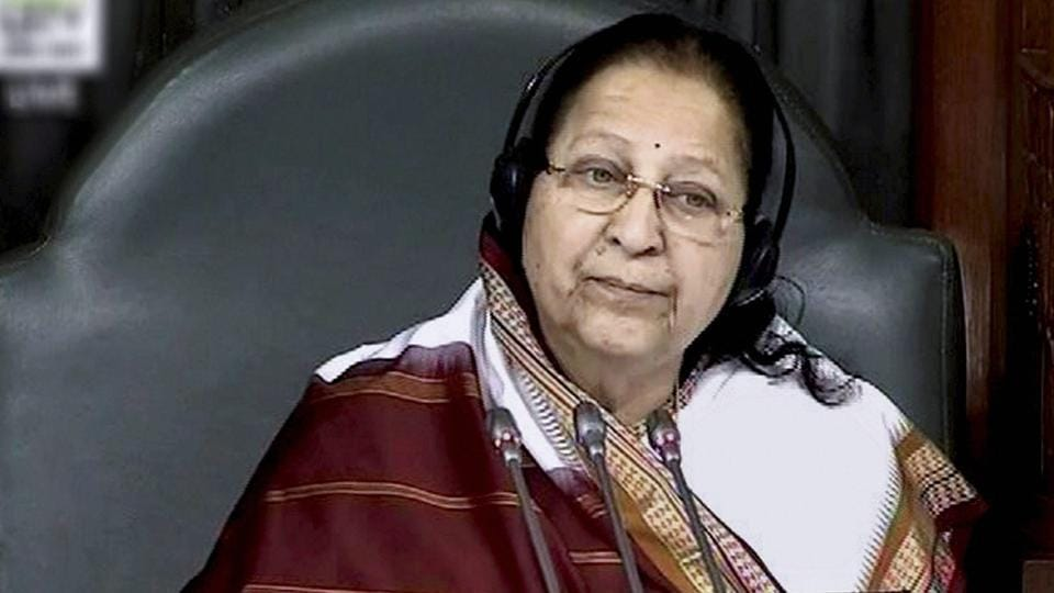 Speaker Sumitra Mahajan in the Lok Sabha in New Delhi.