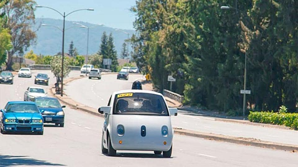 Google's self-driving car takes to the street.