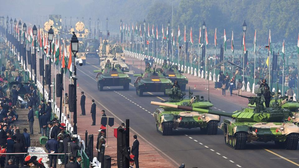 Indian Army T-90 Bhisma tanks march during the full dress rehearsal for the upcoming Republic Day parade in New Delhi on January 23, 2019.