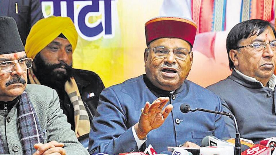 Union minister of social justice and empowerment Thawar Chand Gehlot (2nd from right) addresses a press conference at BJP office in Dehradun on Thursday.