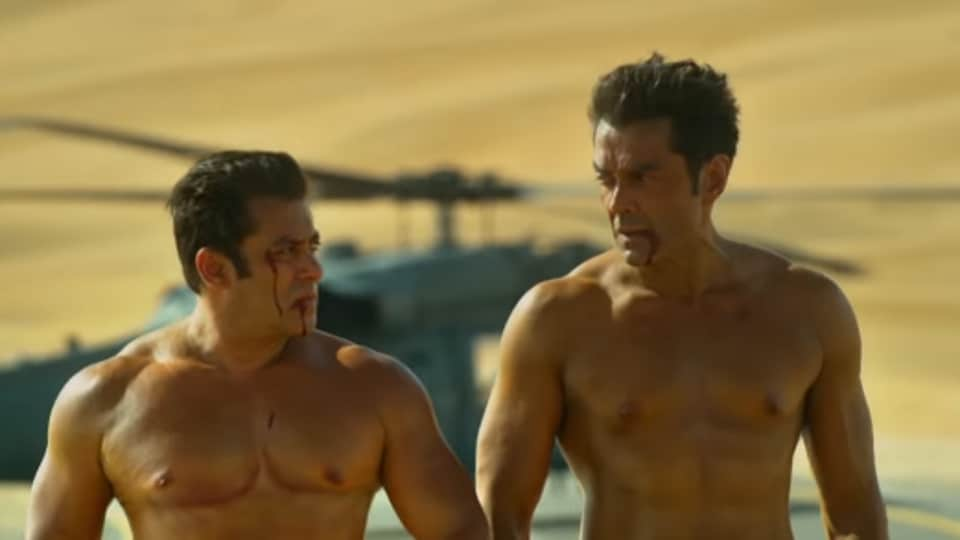 Bobby Deol and Salman Khan in a still from Race 3.