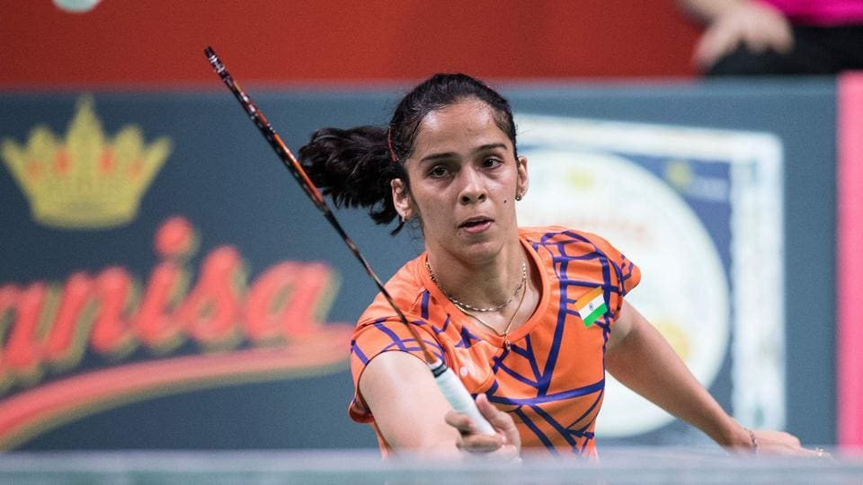 File image of Saina Nehwal in action during a match.