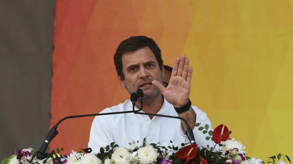 Congress president Rahul Gandhi speaks during Parivartan Sankalp Samavesh rally, in Bhubaneswar.