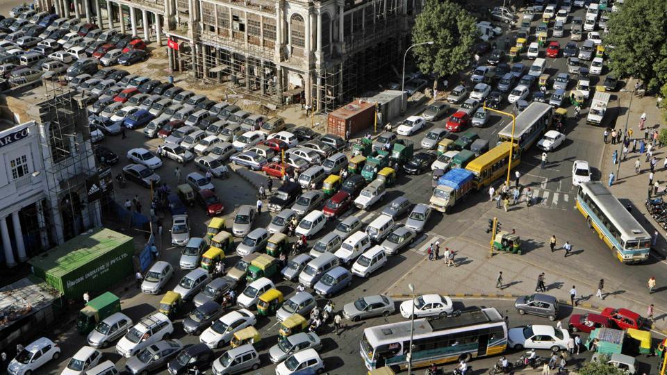 Vehicles in New Delhi.