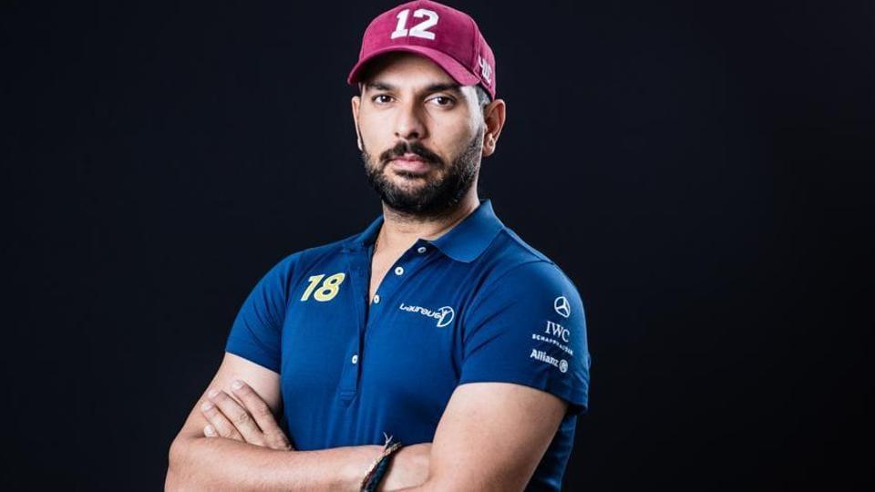 Yuvraj Singh poses prior to the 2018 Laureus World Sports Awards.