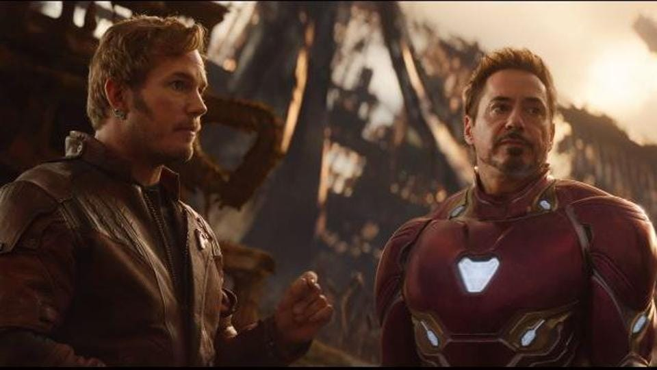 Star-Lord with Iron Man in Avengers: Infinity War.