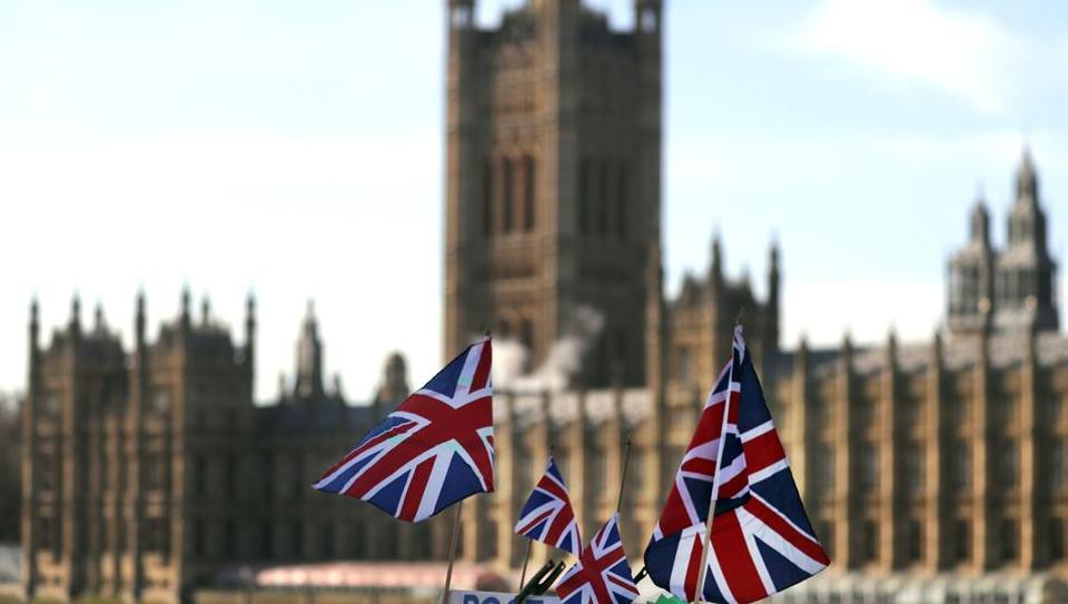 British Union flags fly in front of The Houses of Parliament in London. British Prime Minister Theresa May launched a mission to resuscitate her rejected European Union Brexit divorce deal, setting out plans to get it approved by Parliament.
