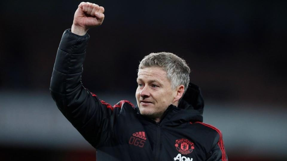 Manchester United interim manager Ole Gunnar Solskjaer celebrates his team's FACup win over Arsenal.