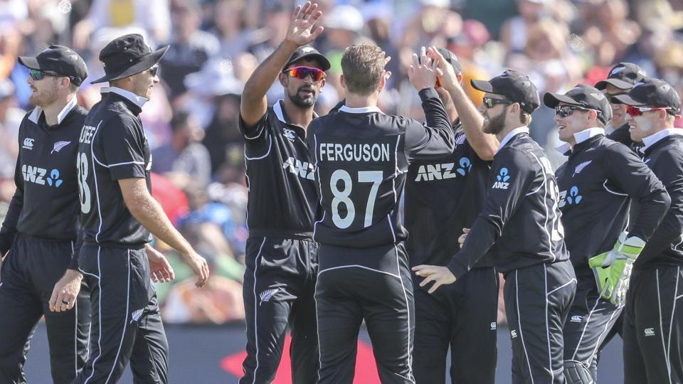 New Zealand celebrate the wicket of India's Rohit Sharma. (AP)