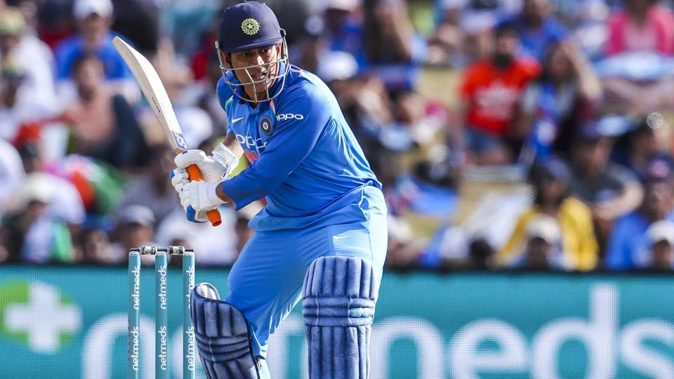 MS Dhoni of India plays during the second one day international between India and New Zealand. (AP)