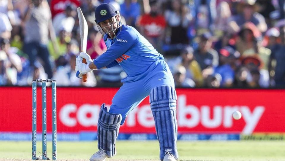 MS Dhoni of India plays during the second one day international between India and New Zealand.