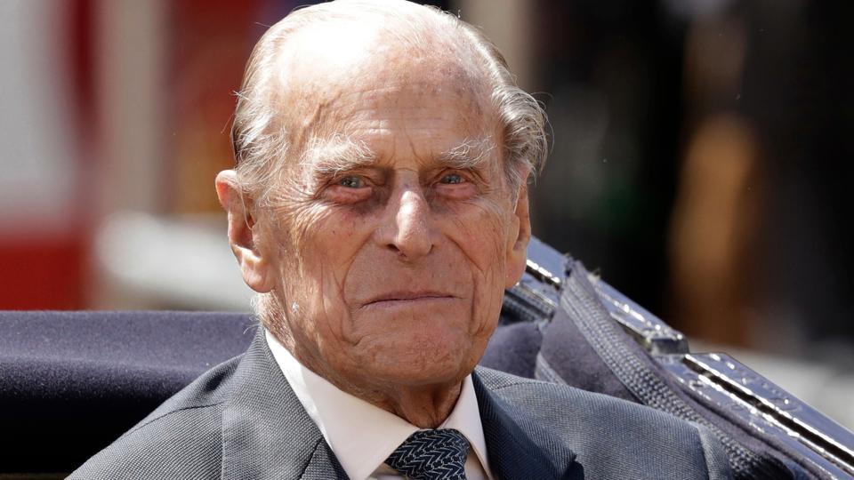 Britain's Prince Philip sits in a carriage in London.