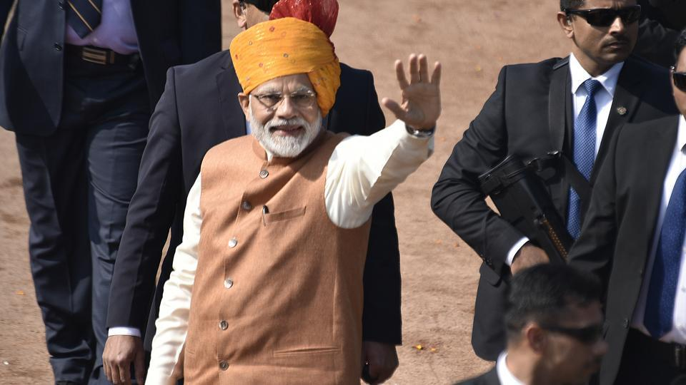 New Delhi, India - Jan. 26, 2019:Prime Minister Narendra Modi (L) waves to spectators after the Republic Day Parade in New Delhi, India, on Saturday, January 26, 2019. (Photo by Raj K Raj/ Hindustan Times)