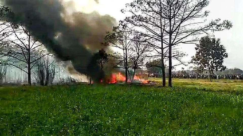 On Monday, an Indian Air Force (IAF) Jaguar fighter plane crashed in Uttar Pradesh's Kushinagar area. No causality has been reported and the pilots were able to eject safely. IAF's Jaguar fighter plane had taken off from the Gorakhpur Air Force base, reports ANI. (PTI)
