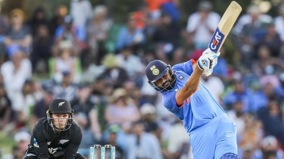 India's Rohit Sharma bats against New Zealand during their third one day international cricket match at Bay Oval. (AP)