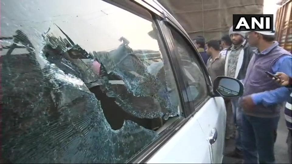 Vehicles parked near BJP president Amit Shah's rally venue in East Midnapore were vandalised during the public event on Tuesday.