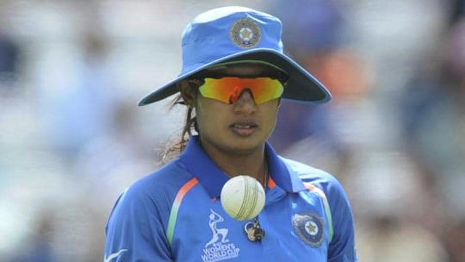 India captain Mithali Raj tosses the ball as she fields during the ICC Women's World Cup 2017.