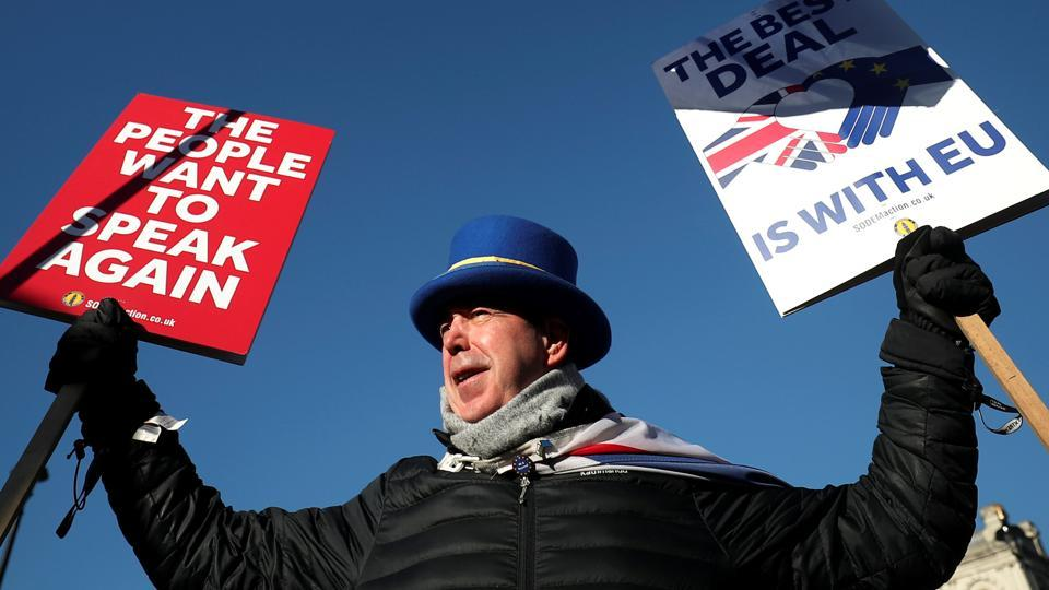 An anti-Brexit campaigner protests outside the Houses of Parliament in London.