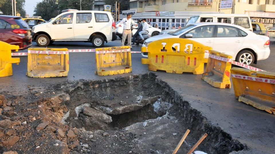 Civic body discovered a 20-foot cavity near Marine Drive on Monday.