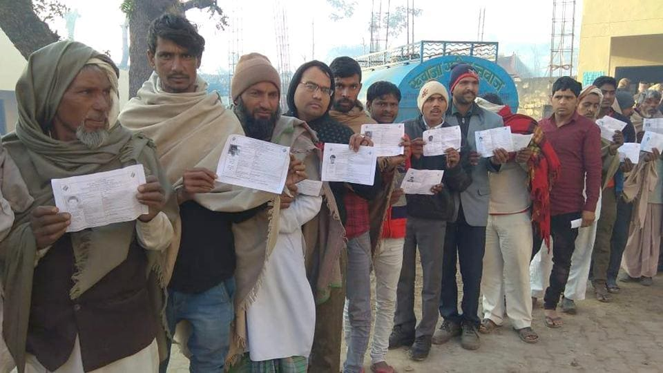 Voters at a polling booth in Sahdoli for Ramgarhassembly constituency, Rajasthan, on Monday, January 28, 2019.