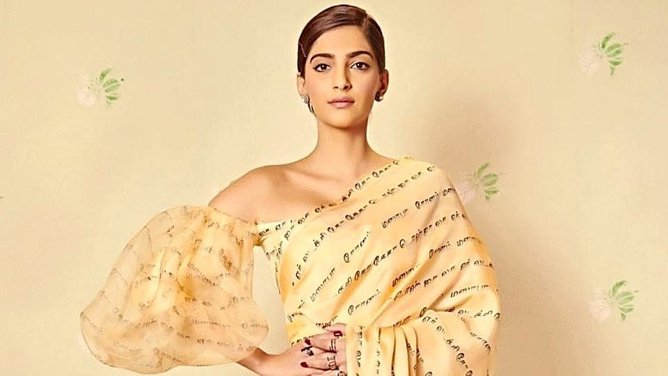 Sonam Kapoor's special Ek Ladki Ko Dekha Toh Aisa Laga saree featured a Tamil-print pattern all over the fabric.  (Instagram)