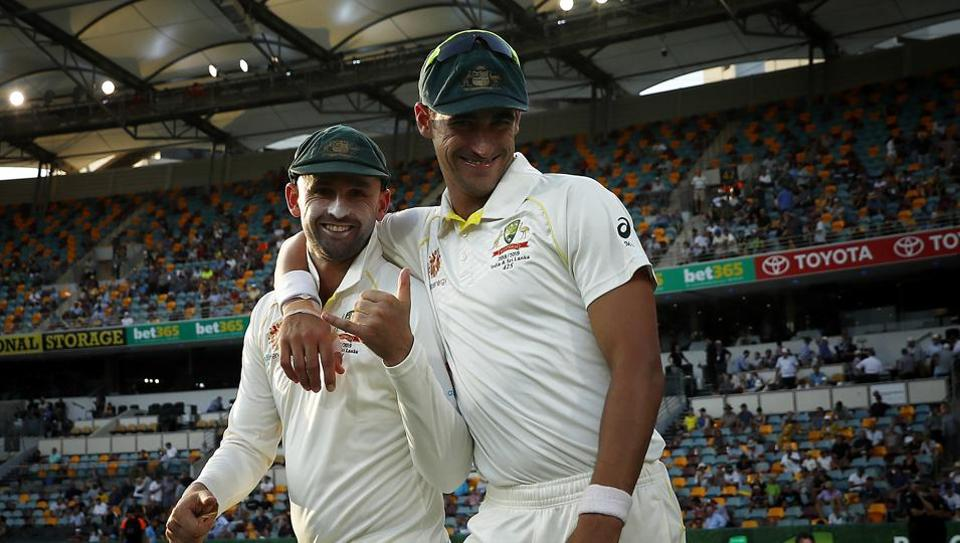 File picture of Nathan Lyon, Mitchell Starc