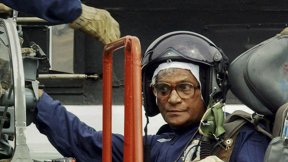In this Aug 1, 2003 file photo the then defence minister George Fernandes is seen inside the cockpit of an MiG-21 after completing a sortie, at Ambala Air Force Station.