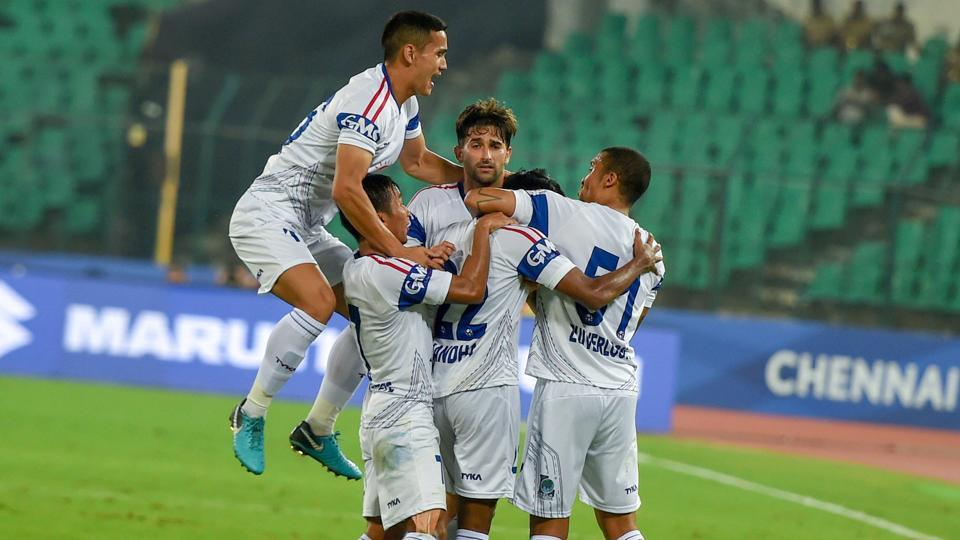 File image of players of Delhi Dynamos FC celebrating after scoring a goal.